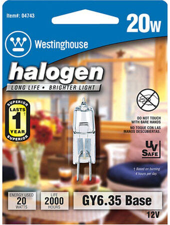 Westinghouse Halogen Light Bulb 20 watts 290 lumens Tubular T4 1.75 in. L White 1 pk