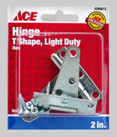 Ace Steel Light Duty T Hinge 2 in. L Zinc 2 pk