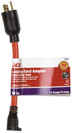Ace Outdoor Adaptor Cord 12/3 STW 10 in. L Orange