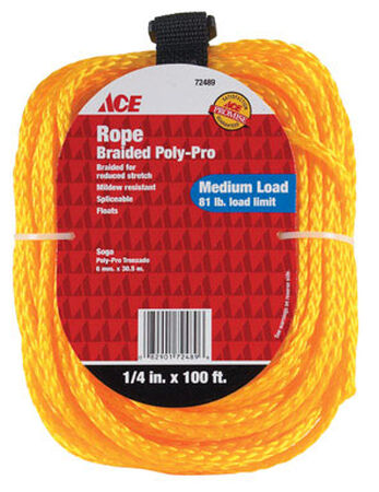 Ace 1/4 in. Dia. x 100 ft. L Braided Poly Rope Gold