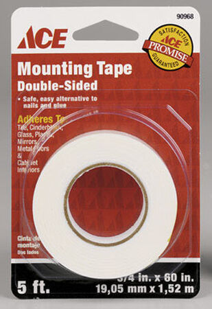 Ace 3/4 in. W x 60 in. L Mounting Tape White