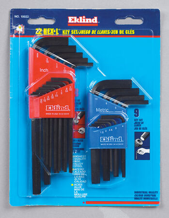 Eklind Metric and SAE Long and Short Arm Hex-L Key Set 22 pc.