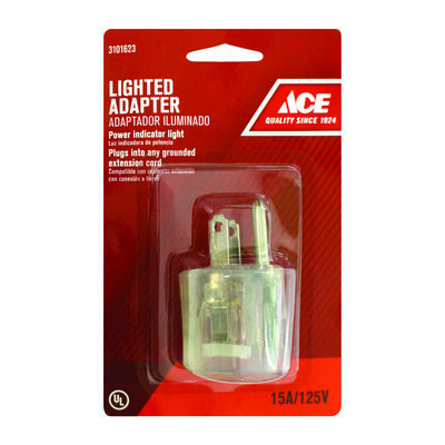 Ace Grounded Lighted Adapter Clear 15 amps 125 volts 1 pk
