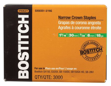 "3,000-Qty. 1-3/16"" Leg 18-Gauge 7/32"" Narrow Crown Finish Staples"