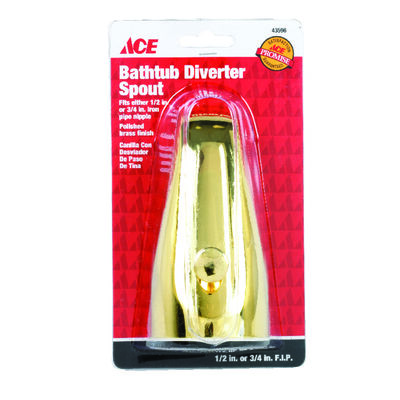 Ace Bathtub Diverter Spout Polished Brass Finish