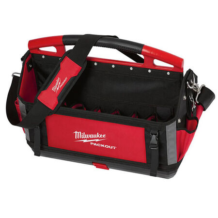 Milwaukee PACKOUT 11 in. W x 17 in. H Ballistic Polyester Tool Tote 32 pocket Black/Red 1 pc.