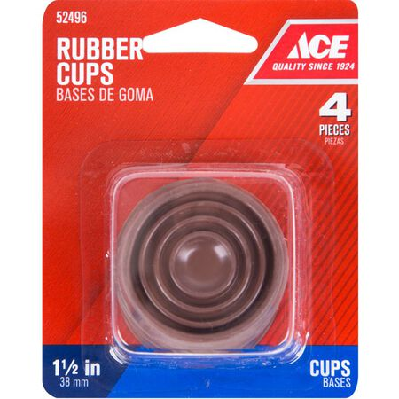 Ace Rubber Round Caster Cup Brown 1-1/2 in. W 4 pk