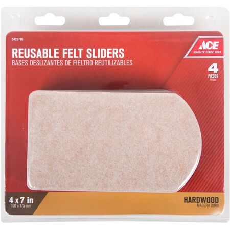 Ace Felt Rectangle Slide Glide Brown 4-1/2 in. W x 6 in. L 4 pk