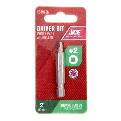 Ace #2 in. Square Screwdriver Bit 1/4 in. Dia. x 2 in. L 1 pc.