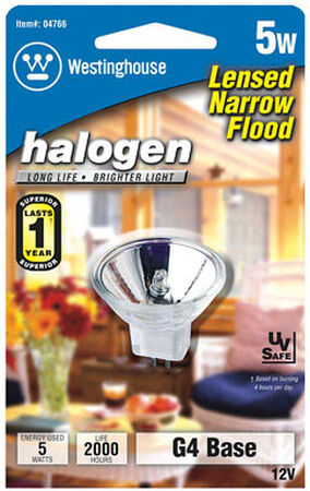 Westinghouse 5 watts 27 lumens 2900 K MR11 GU4 White Floodlight Halogen Light Bulb