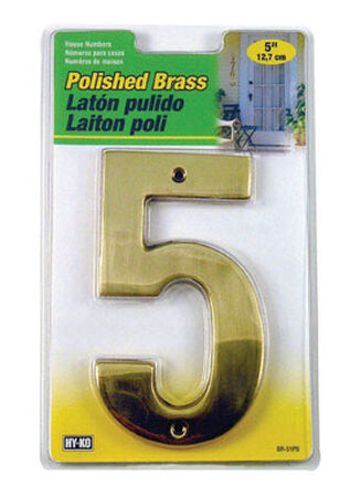 Hy-Ko Nail On 5 in. Polished Brass Number 5