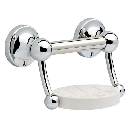 Delta 9 in. L Polished Chrome Stainless Steel Soap Dish with Assist Bar