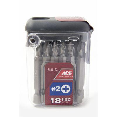 Ace #2 in. Phillips Screwdriver Bit 1/4 in. Dia. x 2 in. L 18 pc.