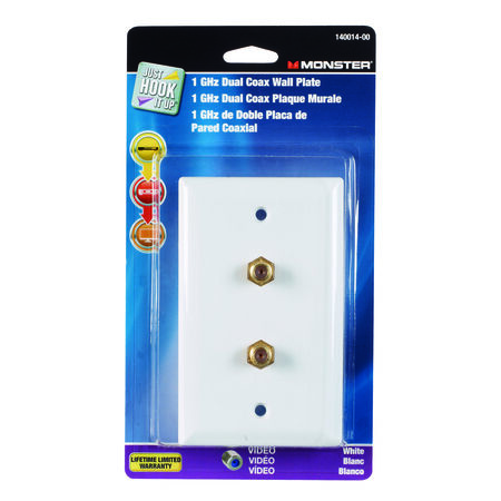 Monster Cable Just Hook It Up 1 gang White Plastic Coaxial Wall Plate