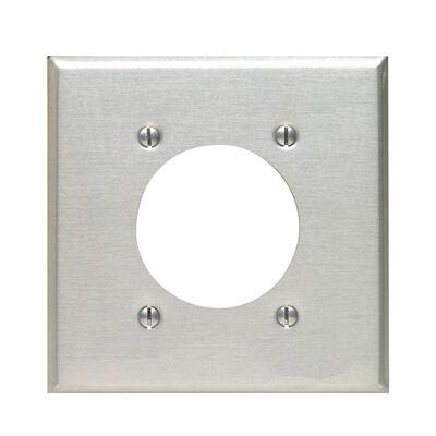 Leviton 2 gang Aluminum Receptacle Wall Plate 1 pk