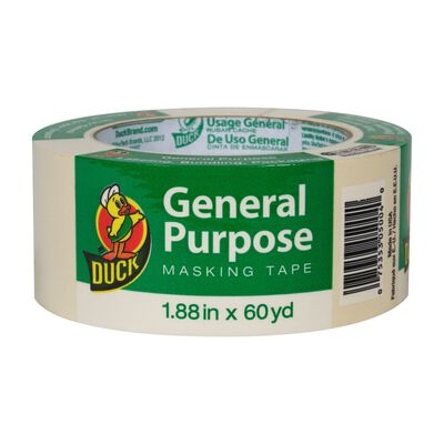 Duck 1.88 in. W x 60 yd. L General Purpose Masking Tape Regular Strength Beige 1 pk