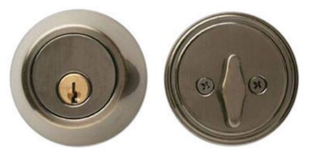 Home Plus Antique Brass Single Cylinder Deadbolt 1-3/4 in. Key No. KW1