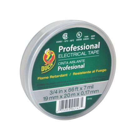 Duck 3/4 in. W x 66 ft. L Vinyl Electrical Tape Gray