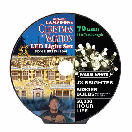 National Lampoon's 8mm LED Concave Commercial Light Set Warm White 15 ft. 70 lights
