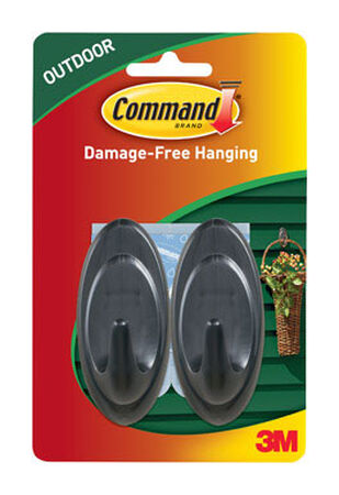 3M Command Medium Outdoor Terrace Hook 3-1/4 in. L Plastic 3 lb. per Hook 2 pk