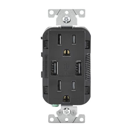 Leviton Decora Receptacle and USB Charger 15 amps 5-15R 125 volts Black