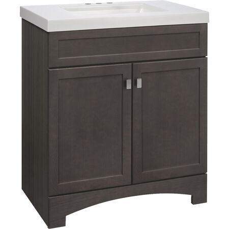Continental Cabinets Davison Gray Vanity with Cultured Marble Top (30 in.)
