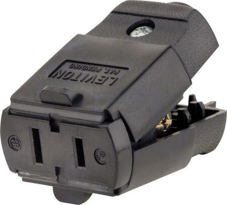 Leviton Residential Thermoplastic Polarized Connector 1-15R 20-16 AWG 2 Pole 2 Wire Black