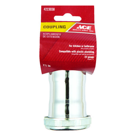 Ace 1-1/2 in. Dia. x 1-1/2 in. Dia. Slip To Slip Chrome Plated Brass Coupling