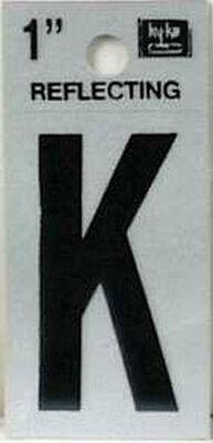 Hy-Ko Self-Adhesive Black Reflective Vinyl Letter K 1 in.