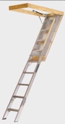 "7 ft. 8 in. - 10 ft. 3 in., 25.5"" x 54"" Louisville FTAA2510 Aluminum Fire-treated Attic Ladder, Type IAA, 375 lb Load Capacity"