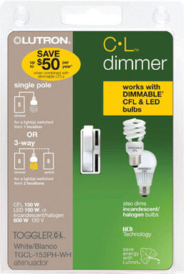 Lutron Toggler 1.25 amps 150 watts Three-Way Dimmer Switch White