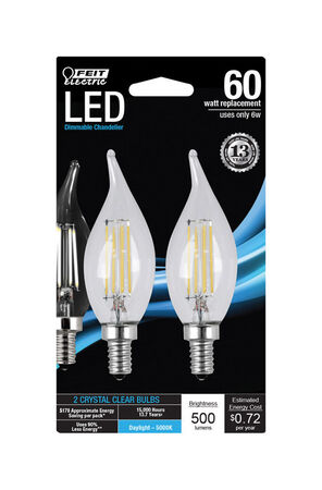 FEIT Electric LED Bulb 6 watts 500 lumens 5000 K Chandelier Flame Tip Daylight 60 watts equival