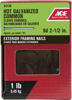 Ace Flat 2-1/2 in. L Framing Nail Smooth Hot-Dipped Galvanized 1 lb.