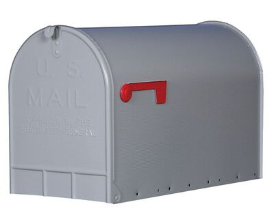 Solar Group Gibraltar Jumbo Steel Post Mounted Mailbox Silver 15-3/4 in. H x 24-11/16 in. L