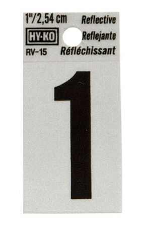 Hy-Ko Self-Adhesive Black Reflective Vinyl Number 1 1 in.