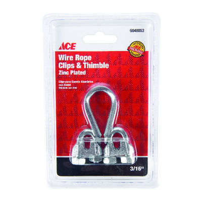 Ace 0.19 in. Dia. Galvanized Galvanized Steel Wire Rope Clips and Thimble 1 pk