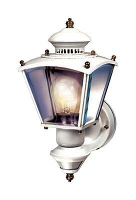 Heath Zenith White Glass Coach Light Motion-Sensing A19 100 watts