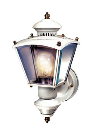 Heath Zenith White Glass Coach Light Motion-Sensing A19 100 watts