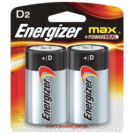 Energizer Max D Alkaline Batteries 1.5 volts 2 pk