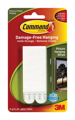 3M Command Large Foam Picture Hanging 3-5/8 in. L 8 pk 4 lb. per Set Adhesive Strips