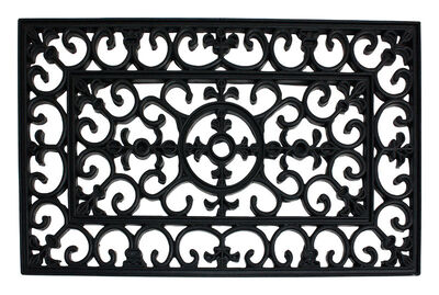 J&M Home Fashions Black Rubber Nonslip Doormat 30 in. L x 18 in. W