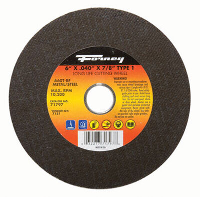 Forney 6 in. Dia. x .040 in. thick x 7/8 in. Metal Cut-Off Wheel