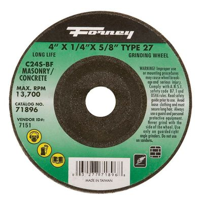 Forney 4 in. Dia. x 1/4 in. thick x 5/8 in. Masonry Grinding Wheel