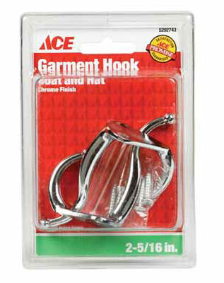 Ace Small Coat and Hat Hook 3 in. L Metal 2 pk