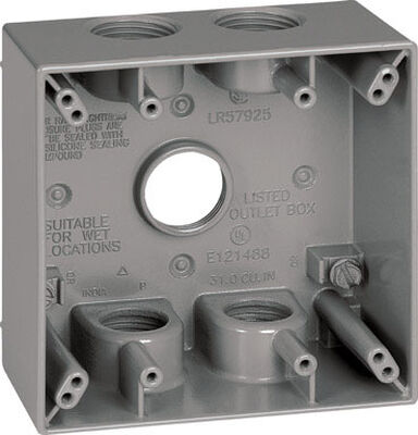 Sigma 4-1/2 in. H Square 2 Gang Outlet Box 3/4 in. Gray Aluminum