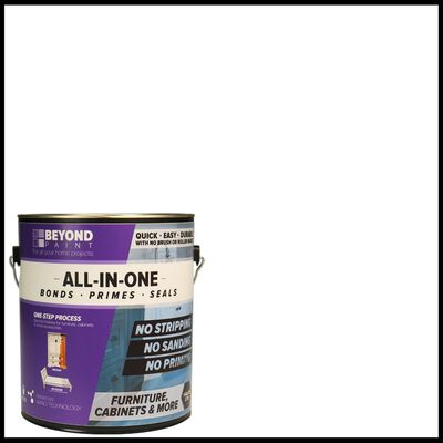 BEYOND PAINT Matte Bright White Water-Based Acrylic All-In-One Paint 1 gal.