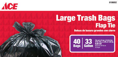 Ace 33 gal. Trash Bags Flap Tie 40 pk