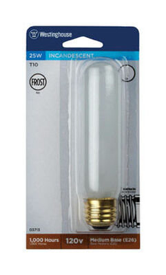 Westinghouse Incandescent Light Bulb 25 watts 170 lumens Tubular T10 White (Frosted) 1 pk