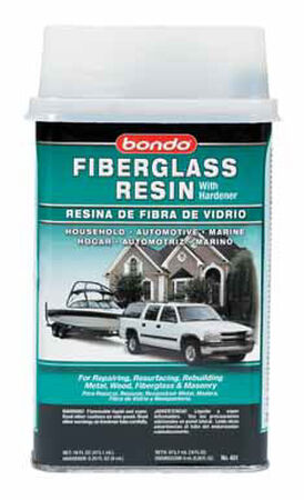 Bondo Fiberglass Resin 1 pt. For Repairs Resurfaces & Rebuilds Metal Wood Masonry & Fiberglass