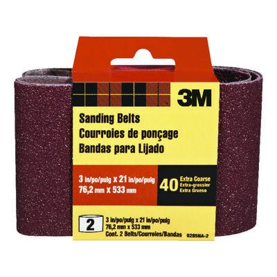 3M Sanding Belt 3 in. W x 21 in. L 40 Grit Extra Coarse 2 pk